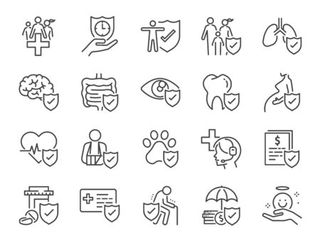 Health insurance icon set. Included icons as emergency, secure, risk management, protection, healthcare and more.