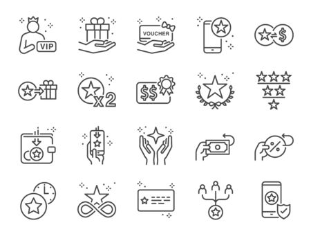 Royalty program line icon set. Included icons as member, VIP, exclusive, reward, voucher, high level and more. Stock Illustratie