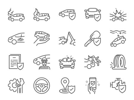 Car insurance icon set. Included icons as emergency, risk management, protection, accident, Side Collision, Front Collision, Broken Car and more. Stock Illustratie