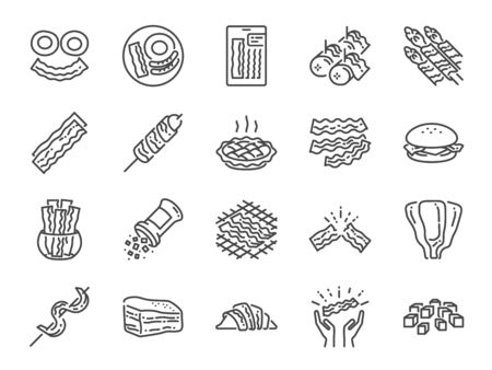 Bacon line icon set. Included icons as pork, food, tasty, smoked, yummy, grill and more.