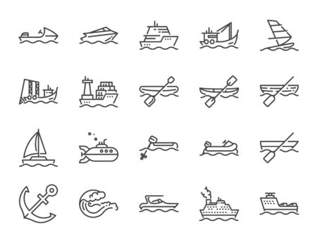 Water Transport icon set. Included icons as boat, ship, cruise, ferry, jet ski, speedboat and more. Stock Illustratie
