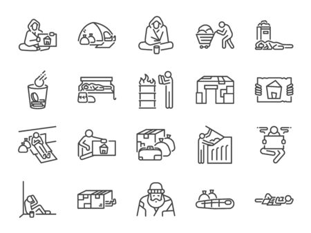 Homeless line icon set. Included icons as poor, empty, homelessness, living on the streets, trash, abandon and more. Stock Illustratie
