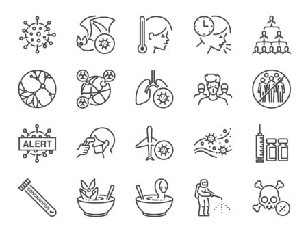 Symbol für die Coronavirus-Linie. Enthaltene Symbole wie Virus, Ausbruch, ansteckend, Ansteckung, Infektion und mehr. Vektorgrafik