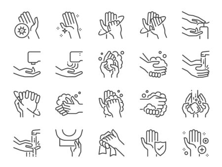 Hand washing line icon set. Included icons as wash, tissue paper, cleaning, hand dryer, soap, wipe, sanitary and more.