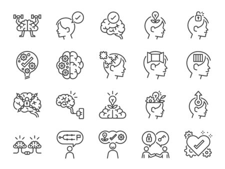 Mindset icon set. Included icons as idea, think, creative, brain, moral, mind, kindness and more. 向量圖像