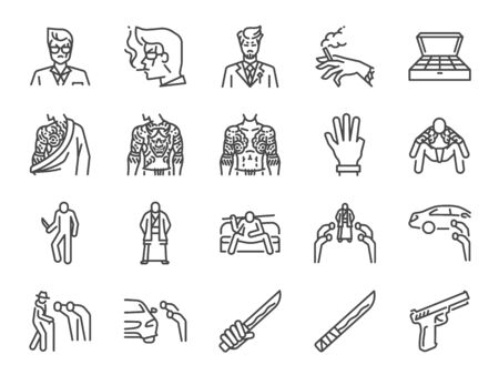 Yakuza line icon set. Included icons as mafia, gangster, danger, bad boy, criminal, weapon, katana and more. Stock Illustratie