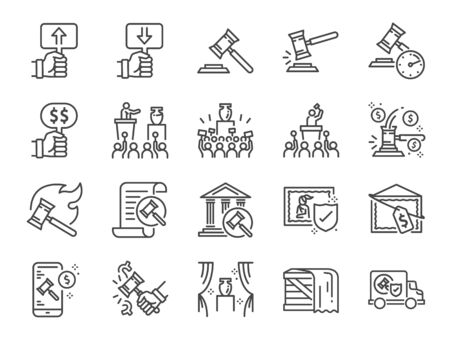 Auction line icon set. Included icons as hammer, price, bidding, judge, auction hammer, painting, deal and more.