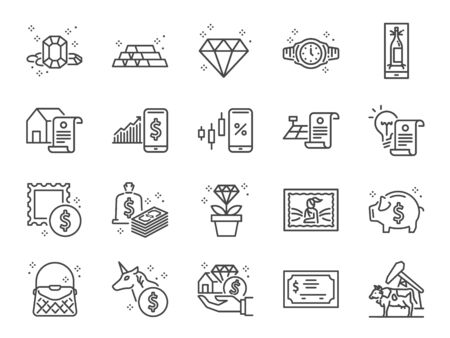 Asset line icon set. Included icons as gold, land, diamond, cash, money, valuables, investment and more. Stock Illustratie