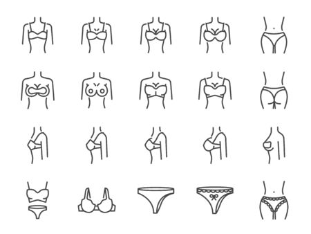 Brassiere line icon set. Included the icons as bra, sport bra, cup sizes, lingerie, underwear, silicone pad, nipple sticker and more. Stock Illustratie
