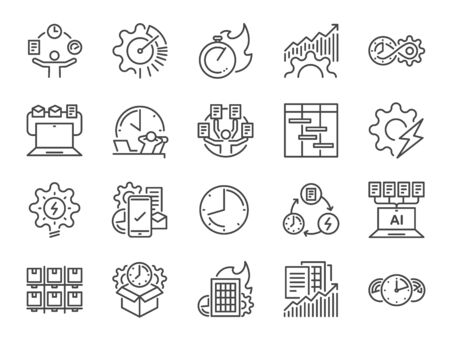 Efficiency line icon set. Included the icons as velocity, organizing, performance, productive, work, timeline  and more. Stock Illustratie