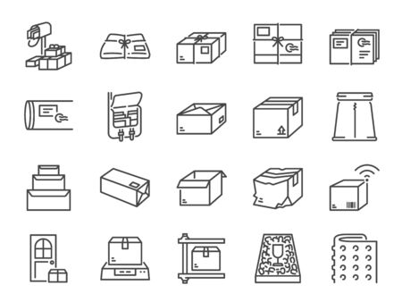 Parcel line icon set. Included the icons as package, box, packing, shipping, delivery, mail,