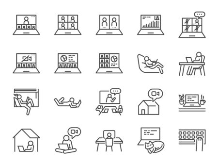 Work from home line icon set. Included icons as self quarantine, stay home, working, online, video conference, office and more. Stock Illustratie