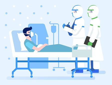 Covid-19 infected patient rest in negative pressure room in a hospital. Coronavirus pandemic medical concept illustration.