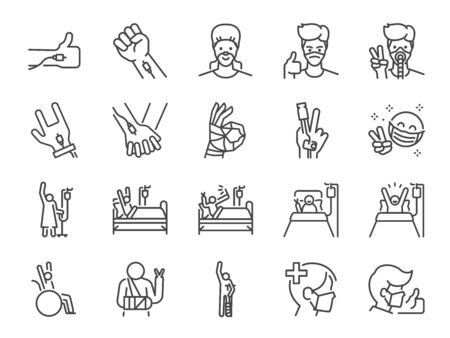 Recovery patients line icon set. Included icons as Positive thinking, sickness, illness, get well, healthy, medical and more. Stock Illustratie