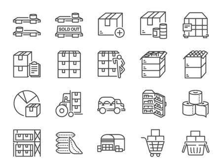 Stockpile line icon set. Included icons as boxes, container, inventory, supplies, stock up, food and more. Stock Illustratie