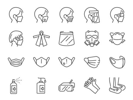 Covid-19 protection equipments line icon set. Included icons as face mask, 3d mask, face shield, goggles,alcohol gel, ppe suite and more. Vektorgrafik