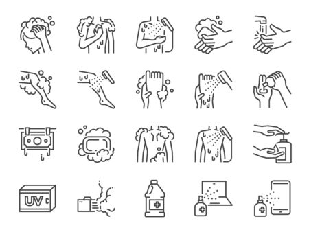 Body wash line icon set. Stock Illustratie