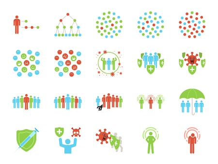 Herd immunity icon set. Included icons as Community immunity, coronavirus, covid-19, immune, people, epidemiological and more. Stock Illustratie