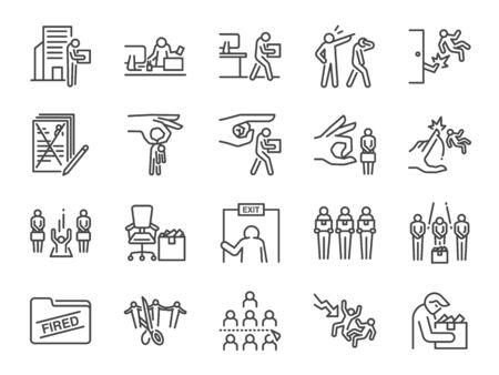 Conjunto de iconos de línea de despido. Se incluyen íconos como despido de empleados, trabajo despedido, renuncia profesional, recortes salariales, crisis económica y más.