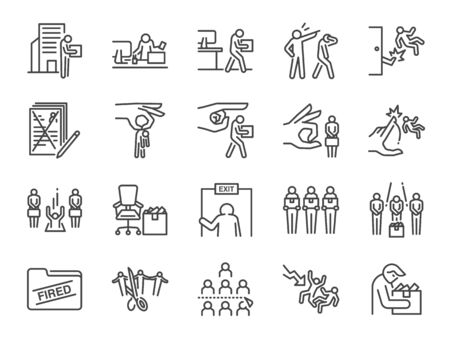 Layoff line icon set. Included icons as employee lay off, job fired, career resign, pay cuts, economic crisis and more. Stock Illustratie