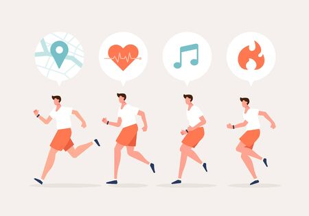 Men running character with smartwatch. Using a navigation, health, exercise app. Healthy lifestyle with technology devices concept vector illustration. Stock Illustratie