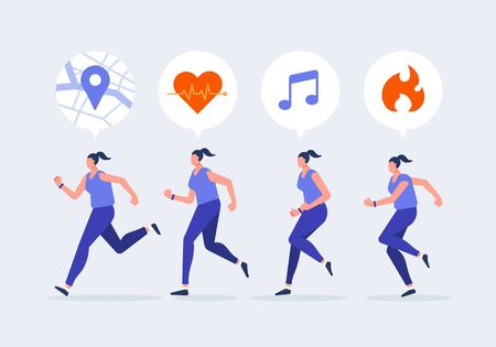 Women jogging character with smartwatch. Using a navigation, health, exercise app. Healthy lifestyle with technology devices concept vector illustration.