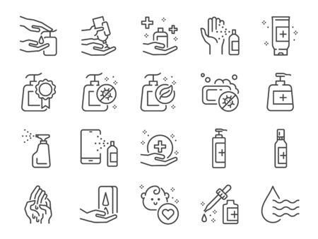 Hand sanitizer line icon set. Included icons as hand wash, hand gel, alcohol gel, alcohol spray, hygiene and more.