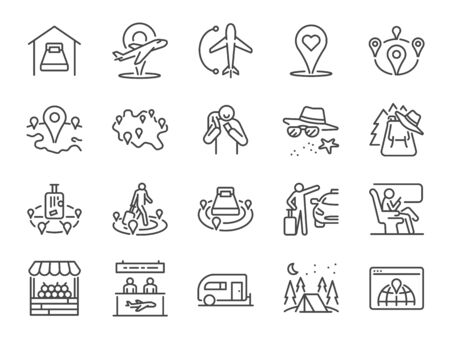 Local tourism line icon set. Included icons as domestic flight, trip, Local traveller, hotel,  hostel, domestic travel and more.