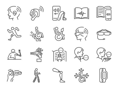 Disability with technology line icon set. Included the icons as assistive device, assistive technologies, adaptive technology, Disabled, cripple, blind, deaf, dumb and more. Stock Illustratie