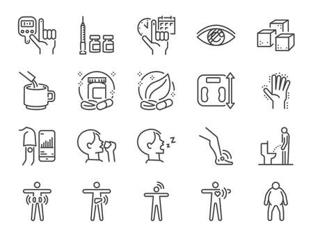 Diabetes line icon set. Included the icons as disease, sugar, fat, body, metabolic disease, insulin, medicine, health and more.