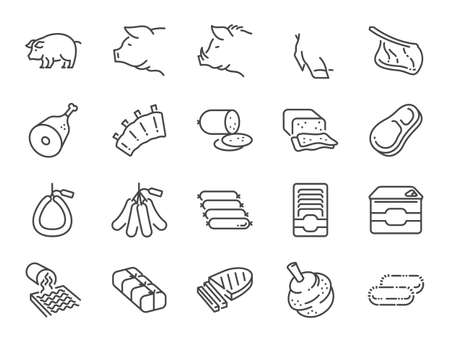 Pork line icon set. Included the icons as pig, ham, sausage, food, ingredient, meat products  and more.