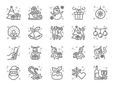 Christmas party line icon set. Included the icons as fun, enjoy, party, good mood, celebrate, success and more.