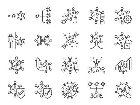 Virus mutation line icon set. Included icons as mutating, evolution, spread, coronavirus, Covid-19 and more.