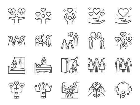 Cheating and love affair line icon set. Included the icons as relationship, complicated, divorced, engaged, and more.