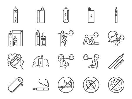 Vaping line icon set. Included the icons as smoking, vapor, vape, electronic cigarette, unhealthy living, and more.