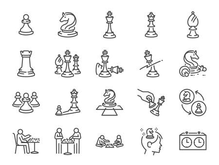 Chess game line icon set. Included the icons as strategy, gambit, checkmate, board game, and more.