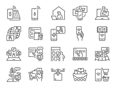 Contactless society line icon set. Included the icons as untact, online, shopping, e-commerce, and more. Stock Illustratie