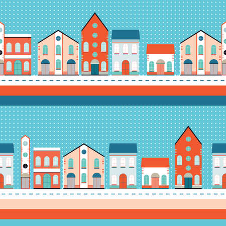 House buildings seamless background pattern  Vector illustration  Vector
