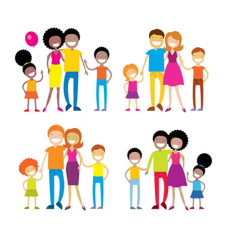 Set of 4 portraits of lovely cartoon family isolated on white background  Vector illustration