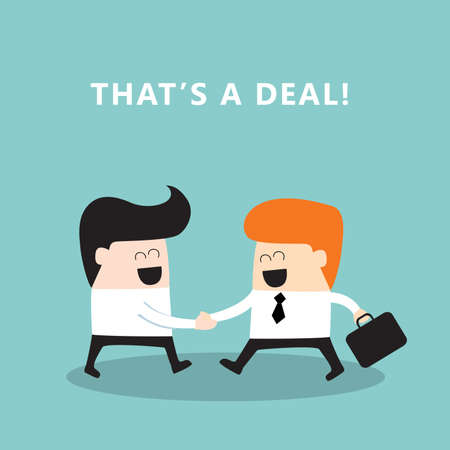 deal making: Business people shaking hands  Businessmen making a deal, successful business concept  Vector illustration Illustration