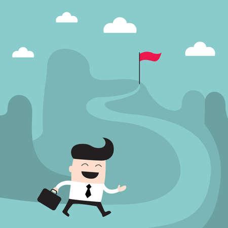 goal: Businessman goes to the goal Success goal achievement business concept Vector illustration