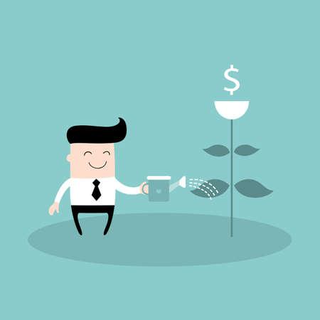 profitable: Businessman watering dollar plant Business success concept Vector illustration
