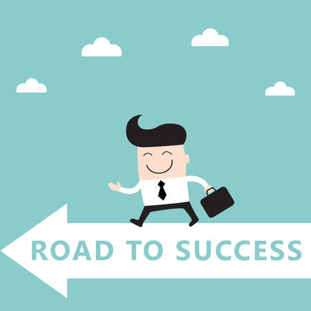 goals: Businessman goes to the goal Successl achievement business concept Vector illustration