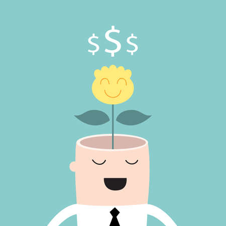 Money tree growing from businessman head Profit business success concept Vector illustration Vector