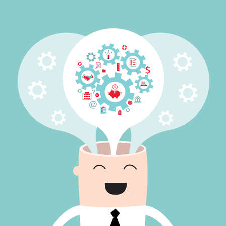 brain storming: Businessman head with the gears thoughts and ideas Brain storming successful business idea concept Vector illustration