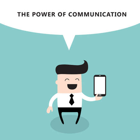 Happy businessman with smart phone The power of communication business concept Vector illustration Vector