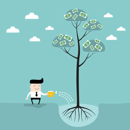 Businessman watering money tree Business success concept Vector illustration
