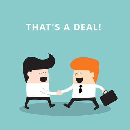 Business people shaking hands Businessmen making a deal successful business concept Vector illustration Vectores