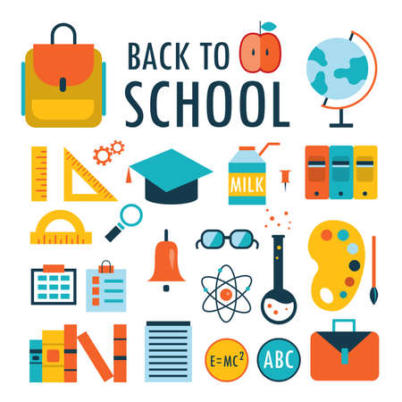 children book: Back to school Flat design icons set isolated on white Vector illustration Part 1
