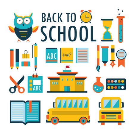 Back to school Flat design icons set isolated on white Vector illustration Part 2 Vector
